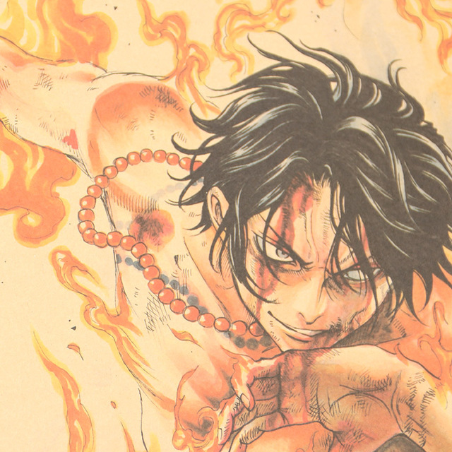 One Piece Portgas D. Ace Póster de Papel Kraft