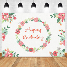 NeoBack Happy Birthday Backdrop Watercolor Wreaths Backdrops Girls Birthday Party Banner Decorations Photography Background bowling theme birthday backdrop let s glow party graffiti wall photography background happy birthday party banner backdrops