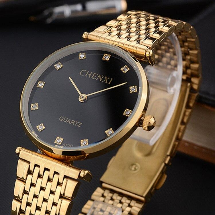 2018 Luxury Brand CHENXI Women Men Quartz Gold Watches Lady Diamond Waterproof Gold Watch Bracelet Casual Wristwatch Reloj Mujer
