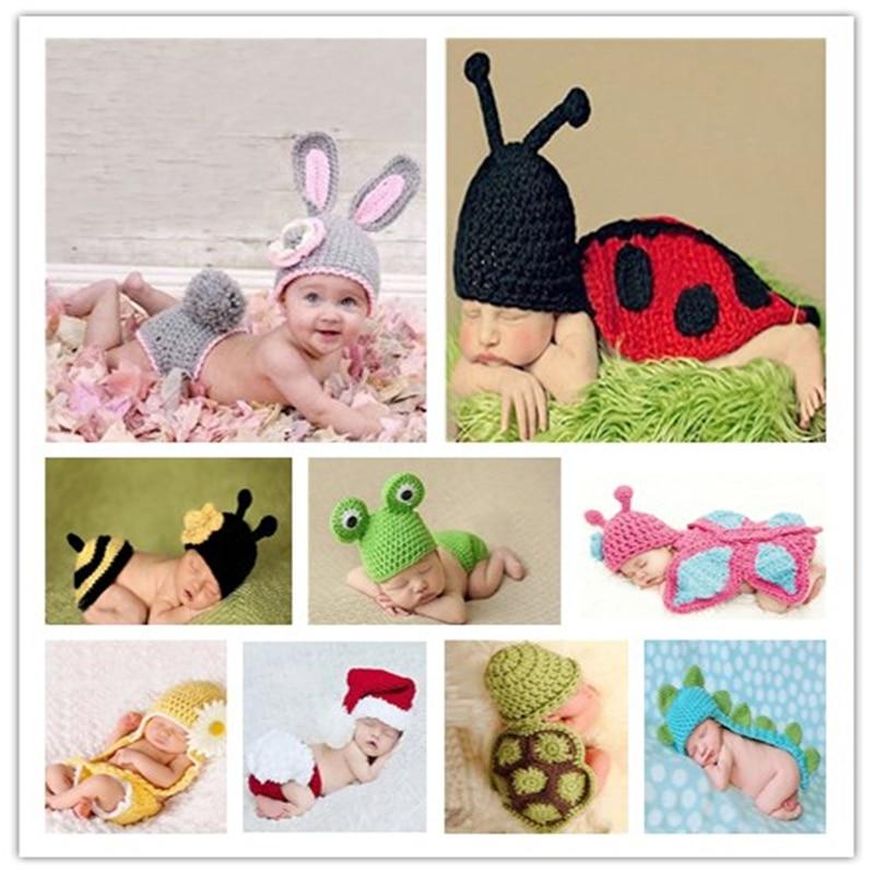 Newborn Baby Girl Crochet Knitting Costume Infant Handmade Photography Prop Cap Crochet Wool Caps Gray Rabbit Sets for 0-6 Month