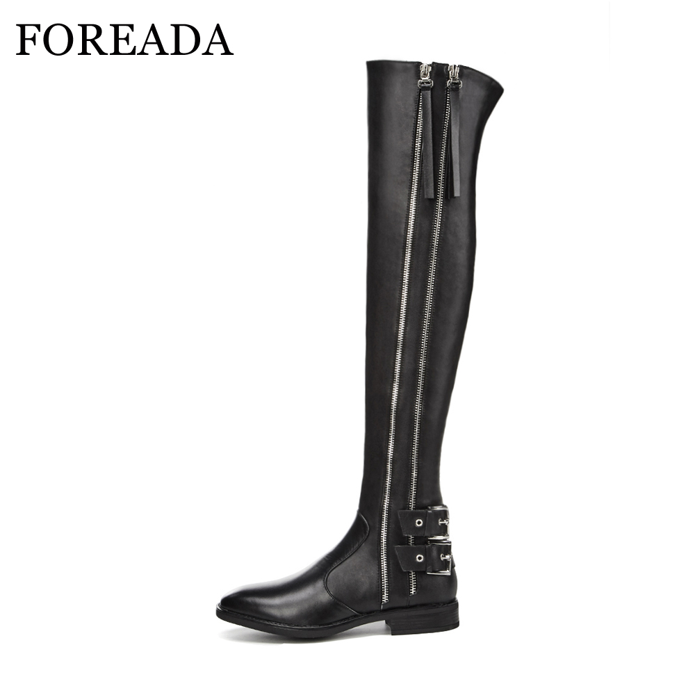 FOREADA Rivets Motorcycle Boots Winter Fashion Real Leather Riding Boots  Buckle Thick Heel Over the Knee f87d7b54c9c4