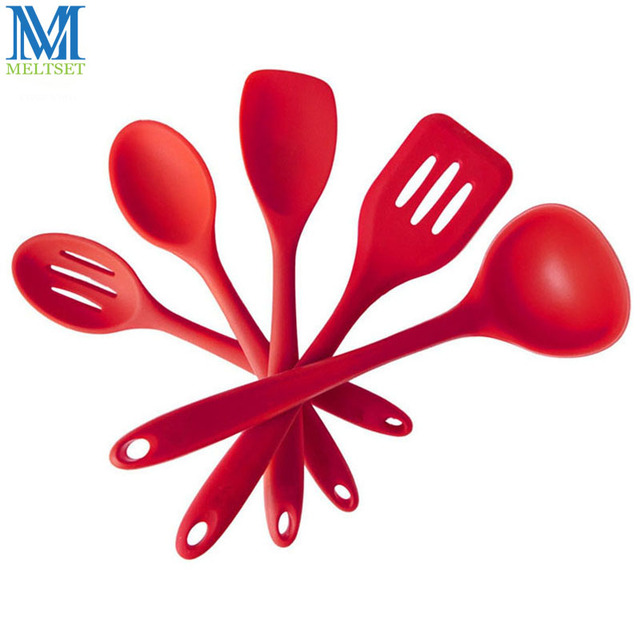 Silicone Kitchen Utensils Set Of 5pcs Fda Grade Heat Resistant Tools Dishwasher Safe