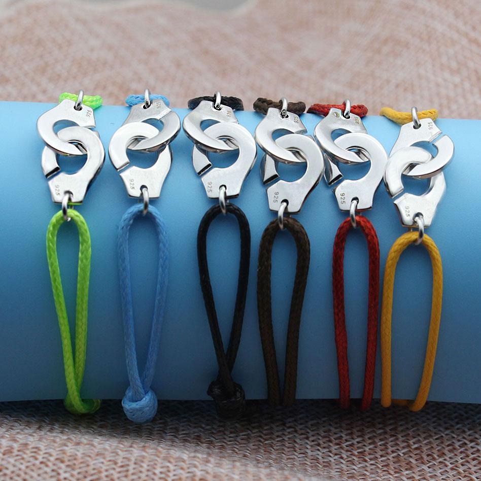 France Pour Femme Bijoux 925 argent Sterling Menottes Bracelet Pour femmes hommes corde Bracelet 925 argent Bracelet Menottes Bijoux