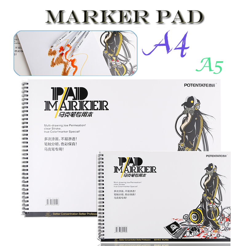 Outdoor portable 32 Sheets Marker Book Student Coloring Design Notebook Set for Sketch Cute Draw book School Marker Pad Supplies a3 a4 marker pen notebook marker sketchbook 32 sheets thick paper 160g color pencils notebooks