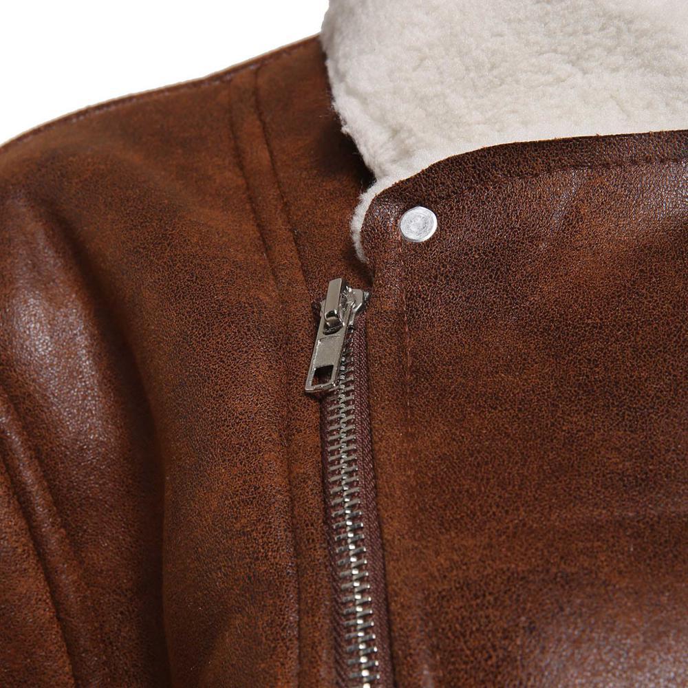 Zipper Closure for Men Leather Jacket Autumn Winter Warm Fur Lining Lapel Leather outerwear layer Zipper Closure for Men Leather Jacket Autumn Winter Warm Fur Lining Lapel Leather outerwear layer дубленка мужская кожаная Coat