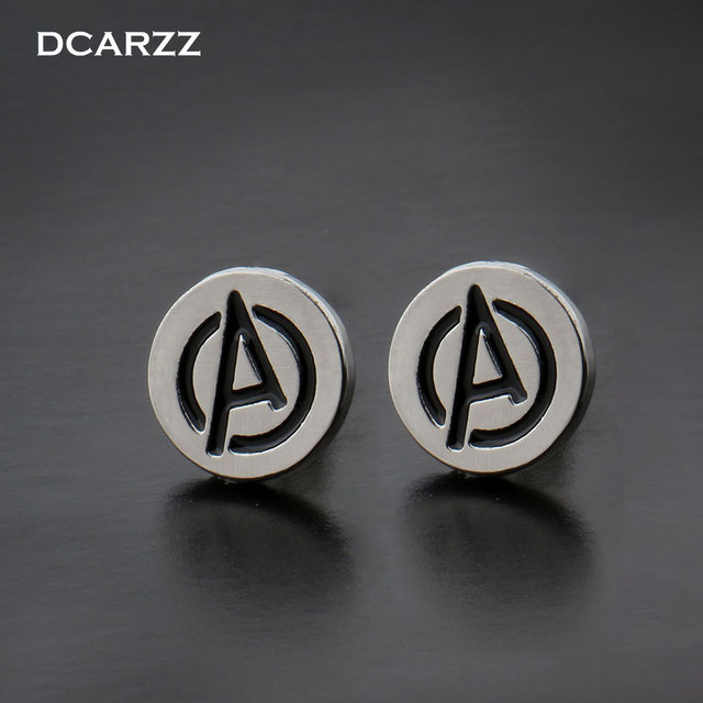 f2ea14a27 Marvel the Avengers Logo Stud Earrings Super Hero Jewelry the Silver Color  Black Enamel Letter