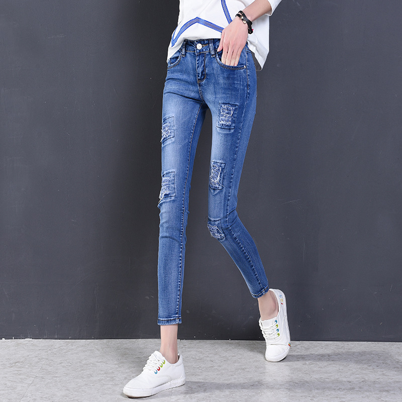 ФОТО Jeans Woman Of 2017 New Female Pencil Pants Slim Slim Feet Black Jeans Trousers Women Jeans Long Pants