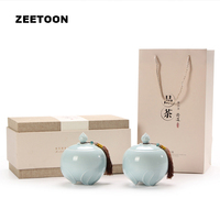 2PCS / Lot Chinese Ceramic Tea Cans Kung Fu Tea Set Tea Caddy Candy Beans Jar Kitchenware Seal Storage Bottle Canister Gift Box
