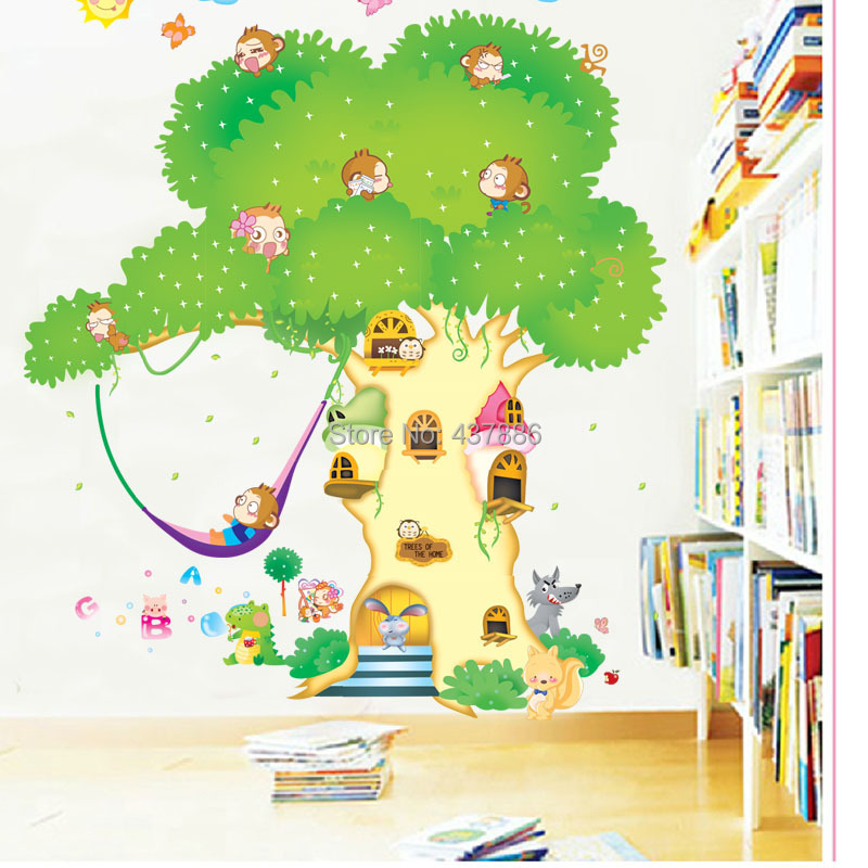 poster wall art family tree wall decal Children bedroom Cartoon big ...