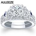 Unique Trendy 1CT Moissanites Bridal Set 14K White Gold Engagement Rings Marquise Cut Lab Grown Diamond Sapphire Wedding Set