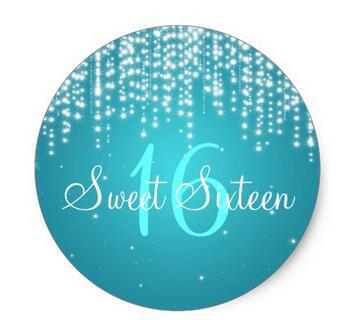 1.5inch Sweet Sixteen Night Dazzle Blue Classic Round Sticker
