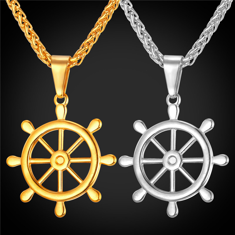MoAndy Stainless Steel Jewelry Stainless Steel Necklace Men Pendant Necklace Wheel Black