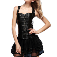 AA2228 New European Waist Slim Corsets And Bustiers 12 Steel Bones Faux Leather Corset Plus Size Black Steampunk Clothing