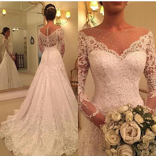 Vestido de Noiva 2019 Long Sleeve Wedding Dress A Line Sheer Neck Wedding Dress Lace Bridal