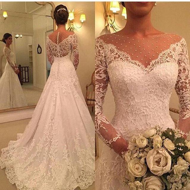 Vestido De Noiva 2019 Long Sleeve Wedding Dress A Line Sheer Neck Wedding Dress Lace Bridal Gown Robe De Mariage Custom Made