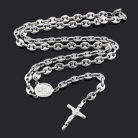 Romantic Rosary Beads Chain Cross Religious Party Music Lover Free Shipping Stainless Steel Necklace Womens Mens
