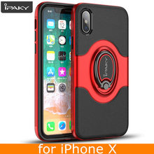 for iPhone X Ring Case Magnetic Car Air Vent Holder Original iPaky Brand Stand Holder Luxury Kickstand Case for iPhone X Case