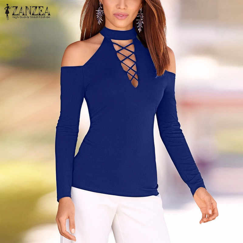 ZANZEA Vrouwen Blouses 2019 Herfst Sexy Lace Up Off Shoulder Blusas Lange Mouwen Hollow Out Casual Tops Plus Size s-5XL