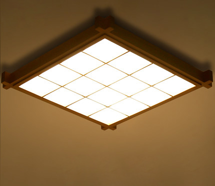 Japanese-Style Surface Mounted Oak Wood AC 110/220V LED Ceiling Lamp Sheepskin Cover Ult ...
