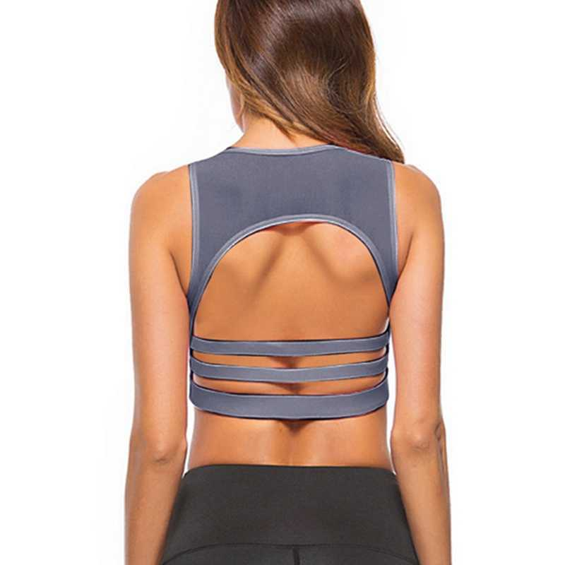 031b4eb6fe92a Sexy Backless Women Sports Bra Mesh Patchwork Fitness Vest Running Bra  Workout Black Yoga Crop Tank