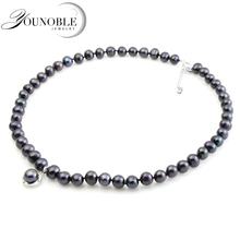YouNoble prawdziwe czarne perły słodkowodne naszyjnik dla kobiet, perła choker naszyjnik dla nowożeńców dziewczyna matka najlepsi przyjaciele prezent urodzinowy