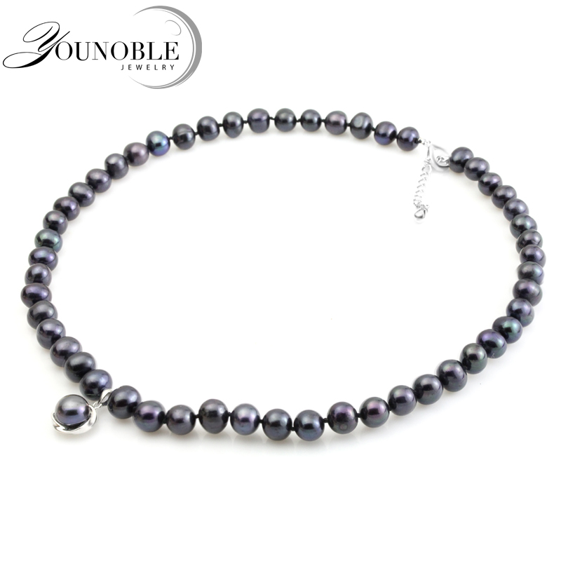 YouNoble real black freshwater pearl necklace for women,pearl choker necklace bridal girl mother best friends birthday gift-in Necklaces from Jewelry & Accessories