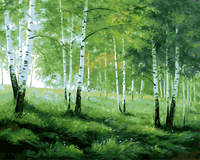 DIY Digital Painting Unique Gift Acrylic Picture Wall Art Hand Painted Oil Painting Green Trees Frameless