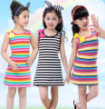 Children's Clothing Girls Children Rainbow Stripe Dress Baby Girls Casual Sleeveless Party Dress Kids Princess Dress