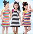 Crianças meninas crianças arco-íris tarja sem mangas vestido de festa meninas vestido crianças vestido de princesa