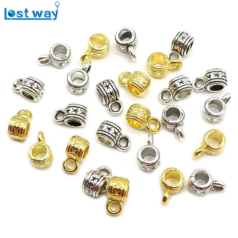 LOST WAY Gold Silver Color Metal Beads Zinc Alloy Connectors Charm Bracelet Necklace Spacer Beads For Jewelry Making DIY 50pcs