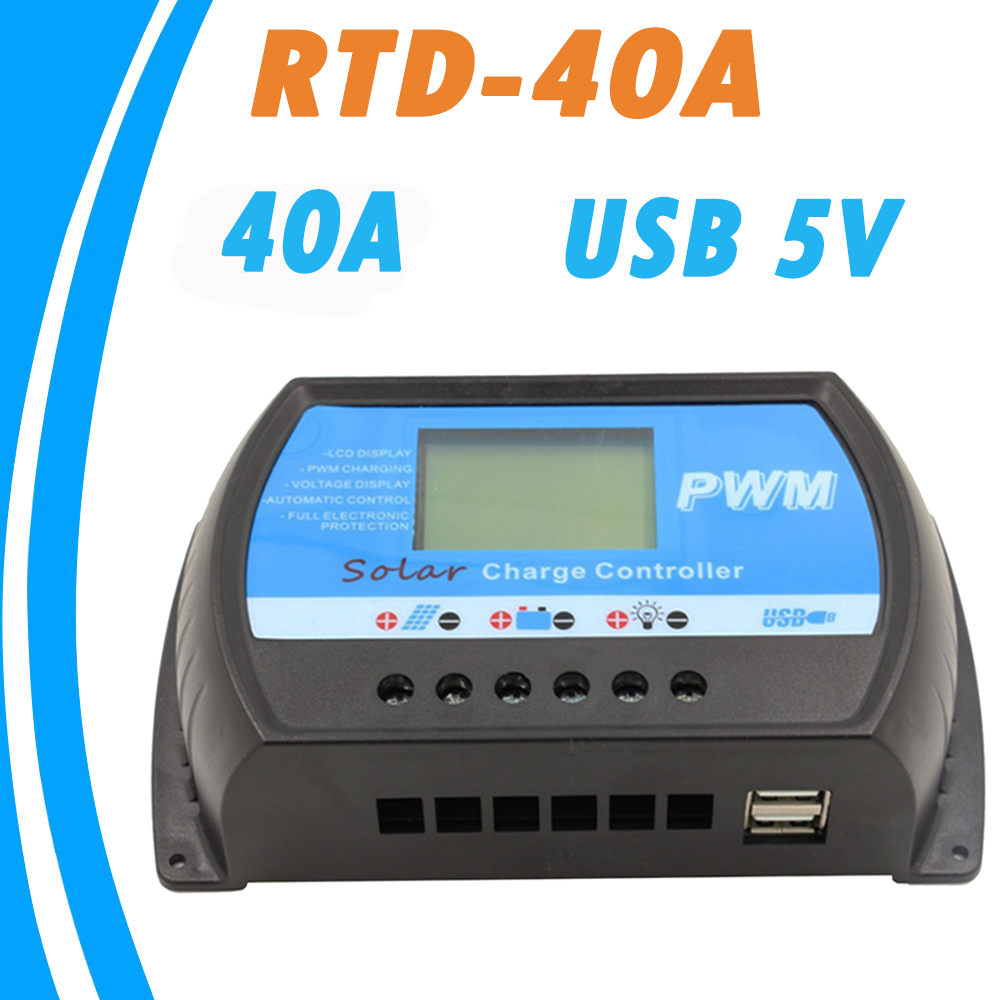RTD-40A Solar Laderegler 24 v 12 v PWM Big LCD Regler 40A mit 5 v USB Ladegerät für Max 50 v Solar Panel Eingangs Hohe Qualität