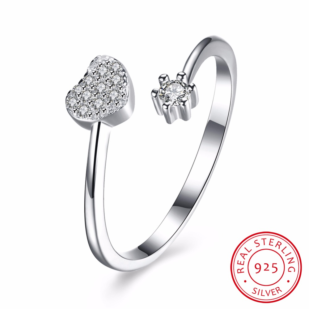 The new hot standard 925 sterling silver jewelry heart-shaped zircon adjustable mouth ring so that girls are more lovely
