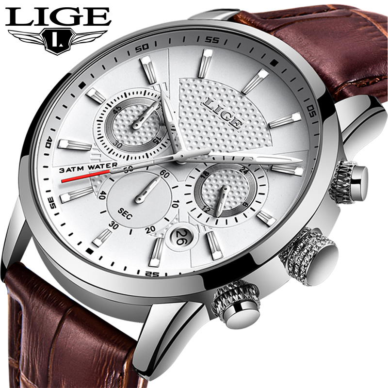 LIGE 2019 Watch Men Fashion Sport Quartz Clock Mens Watches Brand Luxury Leather Business Waterproof Watch Relogio Masculino