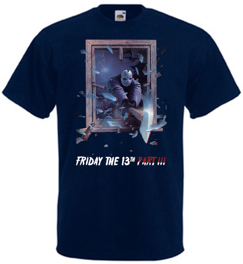 Friday The 13th v10 T shirt navy blue movie poster all sizes S-3XL Summer Short Sleeves New Fashion T-Shirt image