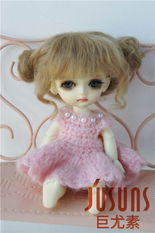 JD406 1/8 5-6 inch doll wig Lati yellow BJD doll wig Lovely Mohair Wigs Baby two pony wig for tiny doll jd275 1 8 synthetic mohair doll wigs 5 6inch lovely two curly pony bjd wig lati yellow doll accessories