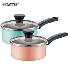 Korean style 16CM Milk pot Nonstick Pan Non-stick soup pot Cookware Frying Pan Saucepan General Use for Gas and Induction Cooker