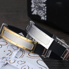 Men's Simple Design Stainless Steel Silicone Clasp Bangle Jewelry Bracelet Gift