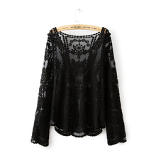 Top Qualtiy Women Lace Blouse Long Sleeve O-Neck Shirt Nice Spring Vogue Lace Shirt Loose Casual Blouse Style Designers RR-C001