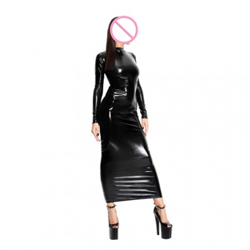 Buy Abbille Hot Sexy Black Faux Leather Latex Backless Hollow Dress Catsuit Body Bondage Night Clubwear Pole Dance Costume