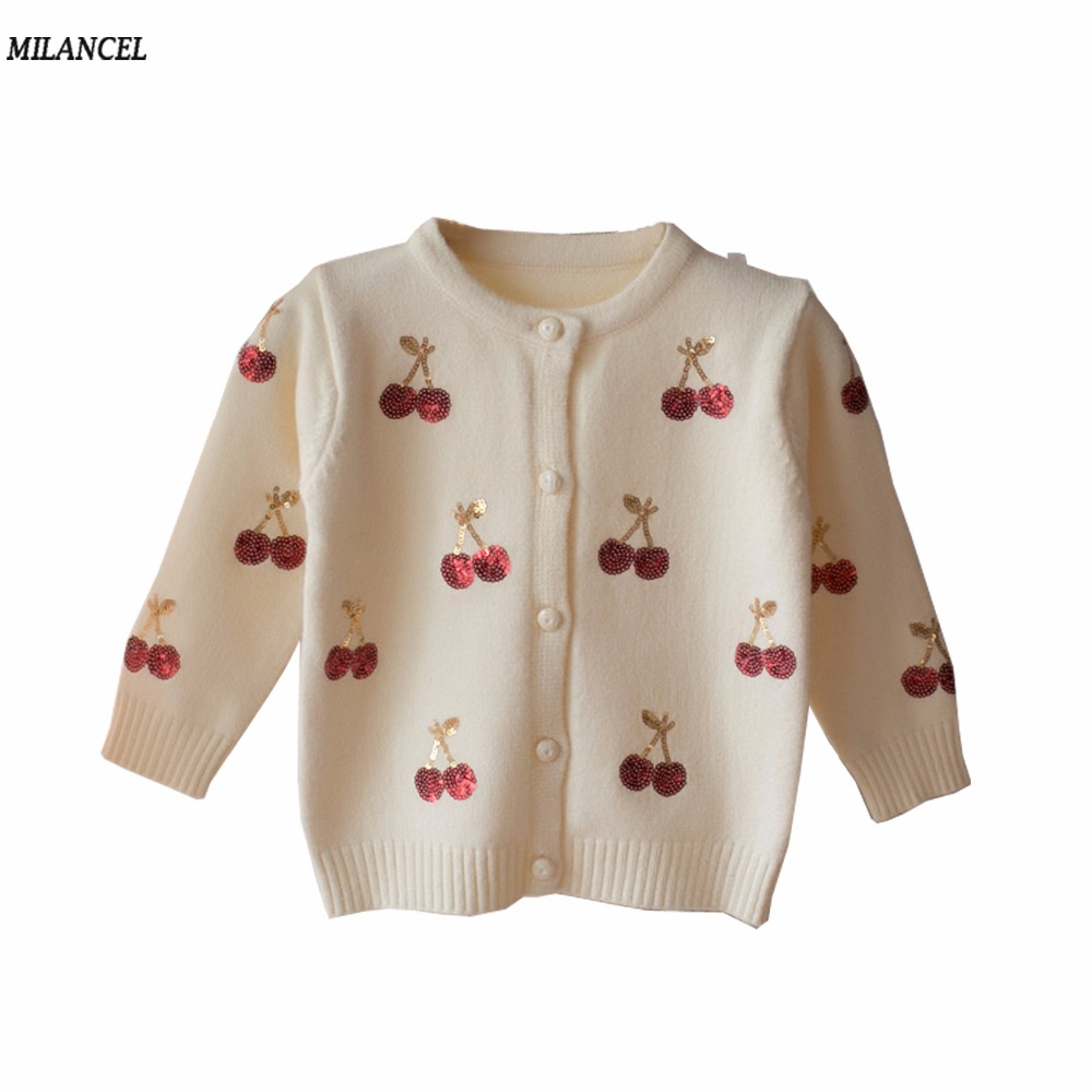 Milancel Cherry Knitted Baby Girls Swetry Kids Autumn Sweter Kids Cardigan Girls Sequined Outerwear Odzież zimowa