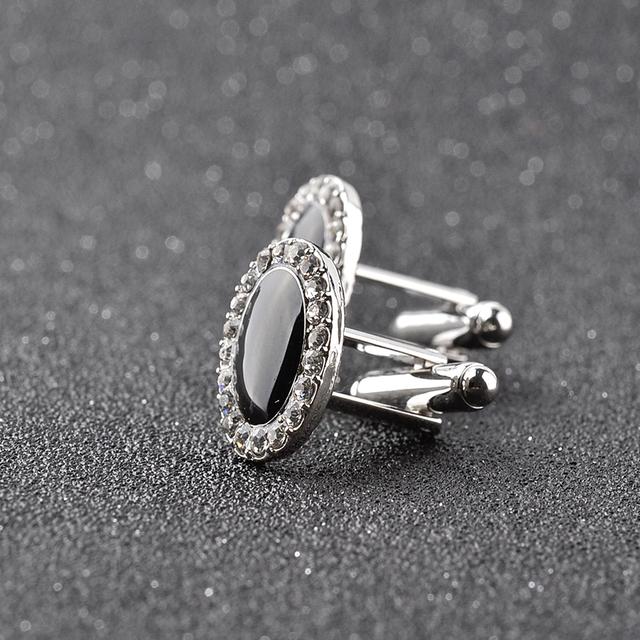 Jewelry French Shirt Cufflinks Mens Cuff Buttons Black Crystal Links High Abotoaduras