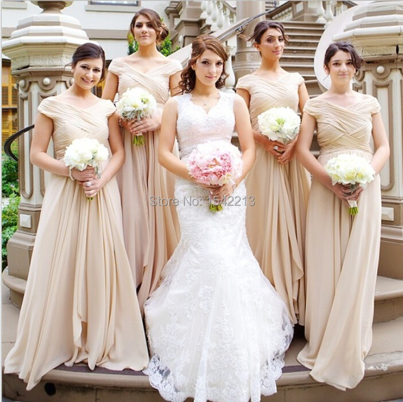 97128aa8cc8 Affordable Long Champagne Short Sleeve Bridesmaid Dress Floor Length Long  Women Wedding Guest Gown Vestido Formal 2017