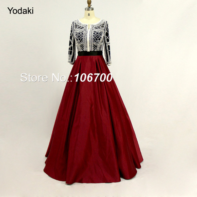 Arabic New Style Pearls Ballgown Evening Dresses Real Photos Three Quarters Sleeves O Neck Custom Make Burgundy Color Prom Gowns