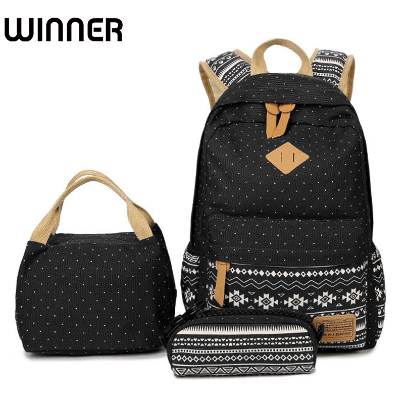 Winner Brand Geometric Set Lunch Bagpack Women School Backpack for Teenagers Girls Dot Canvas Computer Bag with Pencil Case luxury brand lunch bag for women kids men oxford cooler lunch tote bag waterproof lunch bags insulation package thermal food bag