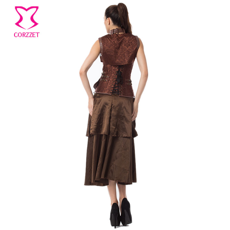 ebbaea47c94 Vintage Steampunk Corset Dress Women Black Plus Size Corsets and Bustiers  Skirt Jacket Set Gothic Dresses Burlesque Costumes-in Bustiers   Corsets  from ...