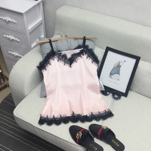 2018 Sexy Fashion New Summer Stitching Lace Halter Top Satin Silk Sleeveless Blouse Women Black White Pink Tank Female Ladies