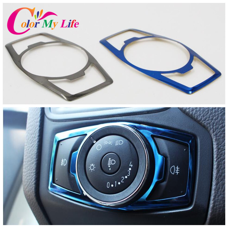 Color My Life Stainless Steel Headlight Switch Sequins Cover Trim Stickers For Ford Focus 3 4 MK3 Kuga Escape Mustang Everest