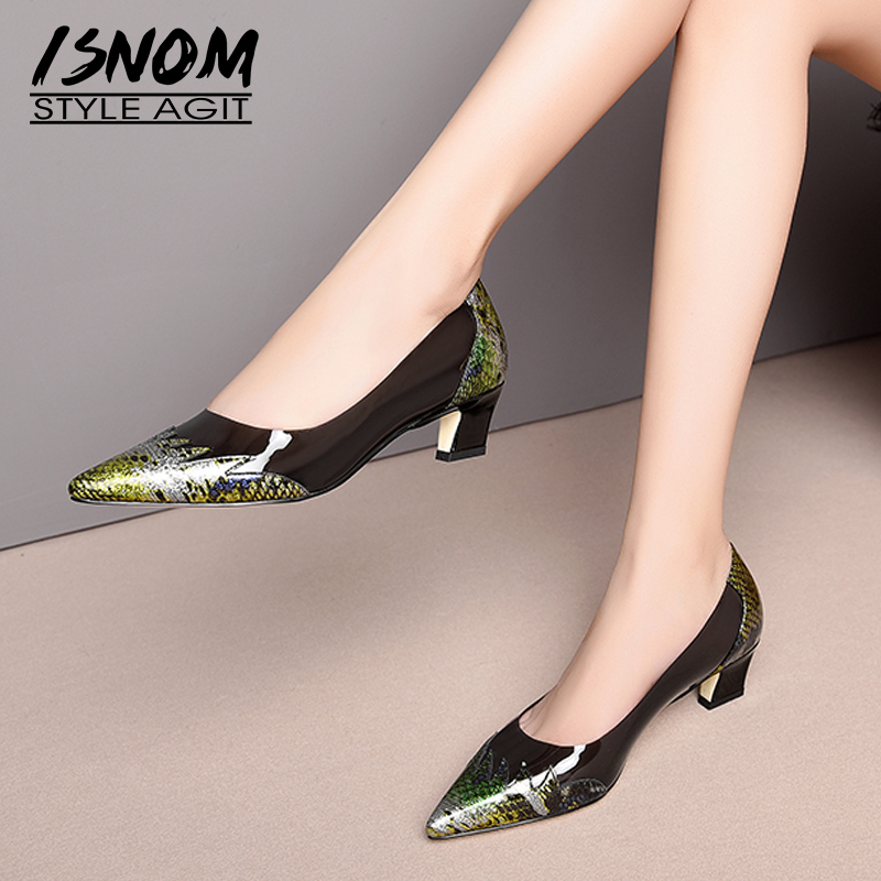 ISNOM High Heels Pumps Women Pointed Toe Footwear Leather Snake Shoes Female Shallow Transparent Pvc Shoes