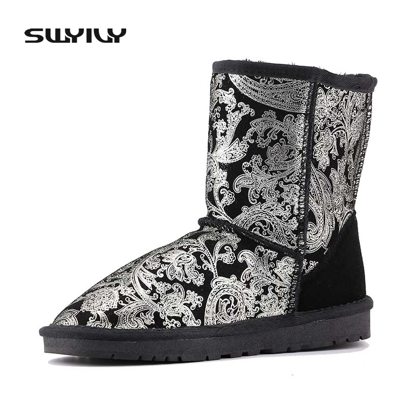 Floral Print Women Winter Snow Boots Genuine Leather Warm Autumn Winter Cotton Shoes For Women Plush Outdoor Footwear Plus Size serene handmade winter warm socks boots fashion british style leather retro tooling ankle men shoes size38 44 snow male footwear