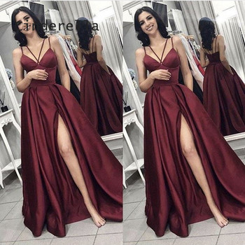 Cinderella Burgundy Sweetheart Side Slit A-Line Floor Length Backless Satin Pleated Long Women Prom Dresses Party Gowns For Prom